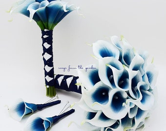 Royal Blue Picasso Real Touch Calla Lily Bridal Bouquet Groom's Boutonniere Bridesmaid Bouquet Groomsman Boutonniere Navy Ribbon