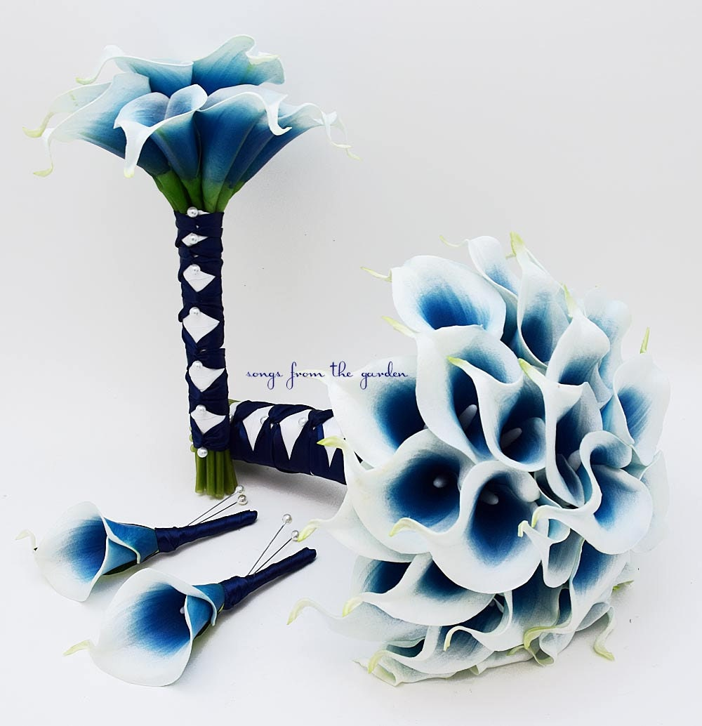Royal Blue Picasso Real Touch Calla Lily Bridal Bouquet