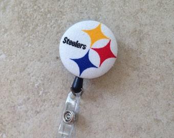 Pittsburgh Steelers ID Badge Holder Retractable - Steelers Football Sports Badge Reel - Nurse ID Badge Reel - Steeler Girl - Here We Go