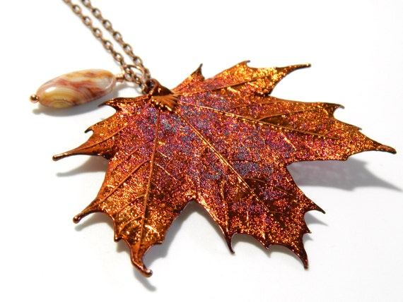 Long Necklace with Copper Dipped Real Maple Leaf Pendant