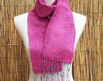 Hand Woven Scarf in Pink Chenille Yarn, Woven Scarf, Handmade