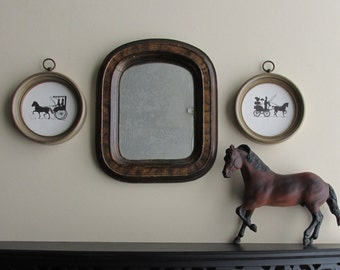 wall collage - Vintage Silhouettes -3 pc vintage  wall art - antique mirror