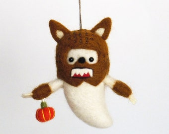 Felted sculpture, Werewolf Halloween ornament : Needle felted ghost with a wolfman costume and an orange pumpkin yellow brown, russet