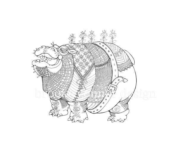 Items similar to Fat Hippo Hippopotamus Coloring Page Adults and