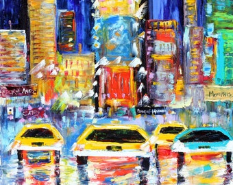 Original oil painting New York Times Square Night abstract palette knife impressionism on canvas fine art by Karen Tarlton
