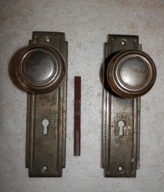Antique Vintage Art Deco Door Knob Set Knobs And Plates