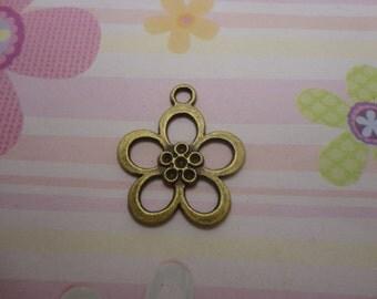 20pcs antique bronze flower findings 25mmx21mm