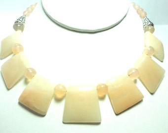 Rose Quartz and Pink Chalcedony 7 Piece Sculptured Gemstone Cleopatra Style Bib Collar Necklace with Sterling