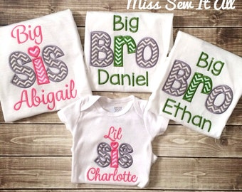 Big/Lil Sibling Shirts, Big Sister Shirt, Big Brother Shirt, Lil Sister Shirt, Lil Brother Shirt, Custom Sibling Shirts