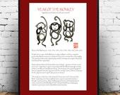 Year of the Monkey poster Three Wise Monkeys, Speak no, hear no, see no. Chinese zodiac, print poster, zen decor, childrens room art
