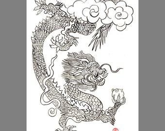 Dragon Year of the Dragon Original Painting Chinese Zodiac, tibetan thangka, zen decor, japan scroll art, childrens room art, taoist art