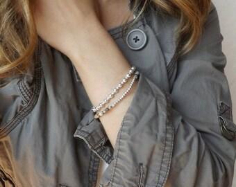 Sterling silver bracelet, Silver bracelet, Layering bracelet, silver ball bracelet, Layering bracelets