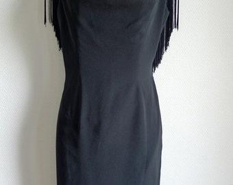 Thierry MUGLER vintage little black dress with fringe detail on the back