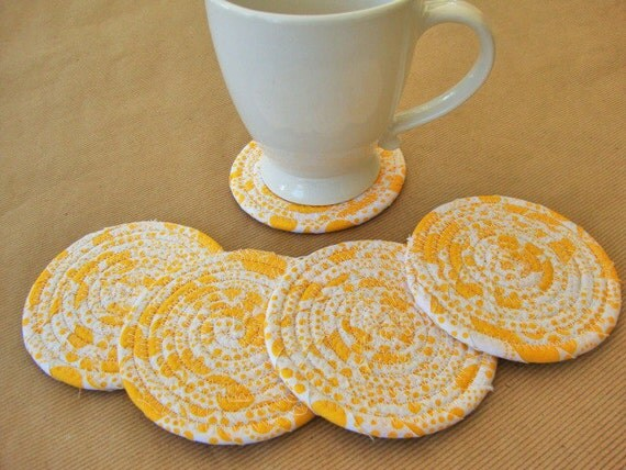 Coaster set of 5 handmade coasters fabric coil coasters for Best coasters for sweaty drinks