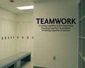Teamwork Decal Removable Sports Wall Sticker Coach Lettering Sportsmanship Office Quote