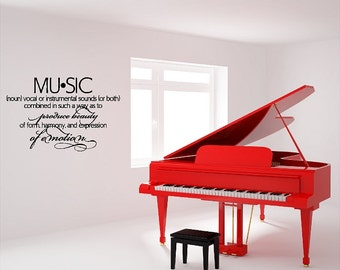Music Definition Wall Quotes Words Sayings Removable Music Wall Decal Lettering