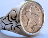 Irish Rabbit Ring Coin RIng sterling silver coin rings by  Blue Bayer Design NYC this piece comes with personalized engraving