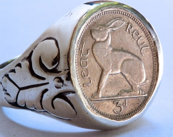 Irish Coin RIng  Irish Rabbit Coin Ring sterling silver coin rings by  Blue Bayer Design NYC