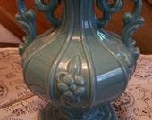 Antique/Vintage Table Lamp, Teal, Turquoise, Victorian, Art Nouveau, Cottage Chic