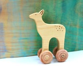 wooden deer push toy, wooden baby toys, animal on wheels, deer rolling toy