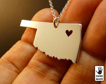 OKLAHOMA State Map Handmade Personalized Sterling Silver .925 Necklace in a gift box