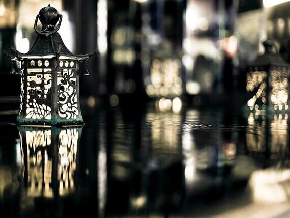 Chinese Lanterns, Black, Gold, Asian Wall Art, Travel Photography, Large Wall Art, Office Decor