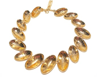 YVES SAINT LAURENT Vintage Statement Necklace Chunky Goldtone Oval Disc Choker - Authentic -