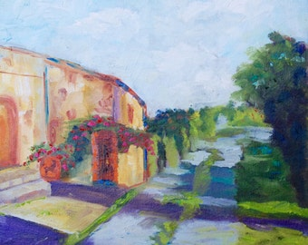 12 x 12 Original Impasto Impressionist Oil Painting of Italian Tuscan Villa Landscape by Rebecca Croft