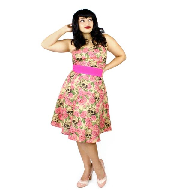 Skulls and Roses Pink Strapless Dress