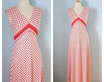 1970s maxi dress / 70s Polka Dots Maxi / Alfred Werber dress