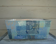 Rectangle metal bin- hand painted design, galvanized metal, painted bin, decorative bin, painted tub, magazine holder. gift basket