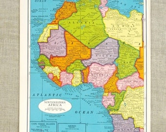 Vintage Map of Africa, Northwest, Sahara, Atlantic Ocean, Congo, Colorful, Geography, Art and Crafts Supplies, Paper Ephemera, Typography