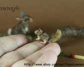 OOAK Dollhouse Miniature Pet Chipmunk 1:12 Handmade