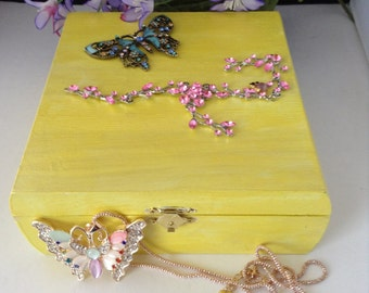 Blue Butterfly Keepsake Box with Necklace