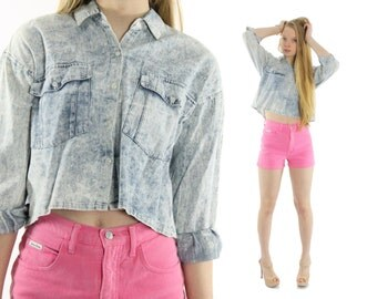 Vintage 80s Cropped Shirt Blouse Long Sleeve Top Acid Washed Blue Top Button Up Shirt 1980s 1990s Fashion Small S