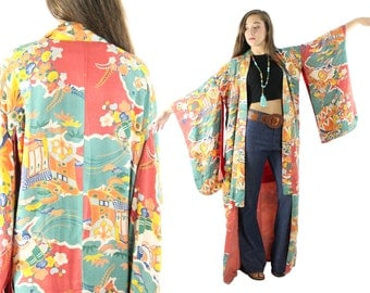 Vintage 40s Silk Long Kimono Japenese Robe Red Silk Lining 1940s Rose Floral Womens Asian Fashion