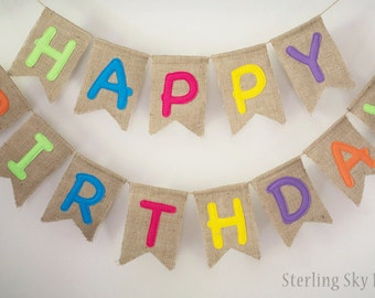Birthday Banner, Burlap Birthday Banner, Birthday Bunting, Happy Birthday Banner, Happy Birthday Bunting