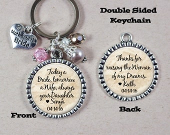 Mother of the Bride Keychain Personalized Wedding Custom Quote Double Sided Key Chain for Mom