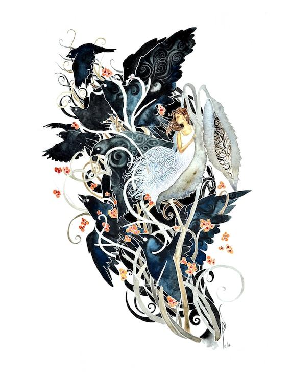 Milkweed - giclee PRINT of original watercolor art blackbirds,white dress,