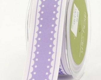 May Arts 1.5 Inch Grosgrain / Scalloped Edge Ribbon - 338-05 Lavender