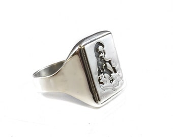 27 CLUB Hippie Guitar music  experience Ring Solid Sterling Silver 925