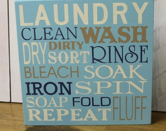 Laundry Subway Sign/Laundry Room Sign/Clean/Wash/Dry/Iron/Spin/Bleach/Blues/Wood Sign/Laundry Decor/Laundry Art