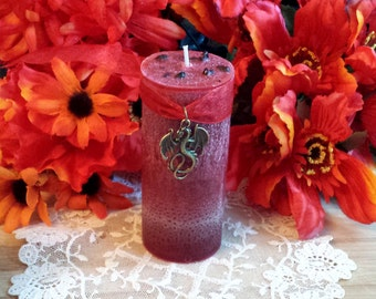 Dragons Blood Pillar Candle, Loaded with Dragons Blood Resin, Spell Candle