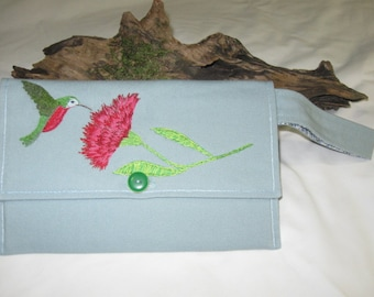 New Handmade Light Blue Hand Embroidered Humming Bird Floral Envelope Wristlet Purse