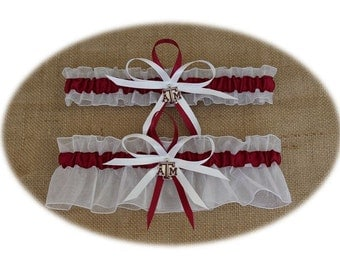 Sheer White Wedding Garter Set with Texas A & M Colors