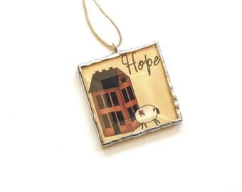 Hope ornament, primitive art, clip art ornament, motivational quote, cubicle decoration, Christmas ornament, sheep ornament, salt box house