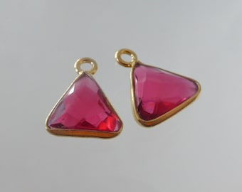 Handmade Triangle Pink Quartz with Gold Vermeil over 925 Sterling Silver Bezel Rim Pendant Charm - 13x9mm