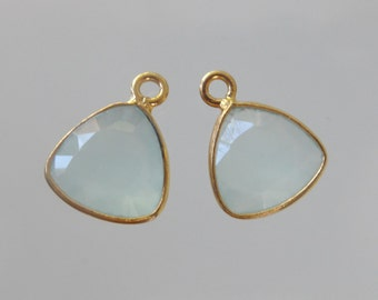 Handmade Rounded Triangle Aqua Chalcedony with Gold Vermeil over 925 Sterling Silver Bezel Rim Pendant Charm - 13x9mm