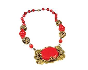Art Deco Necklace, Czech Art Deco, Pumpkin Orange, Gold Gilt, Filigree Metal, Vintage Necklace, Antique Jewelry