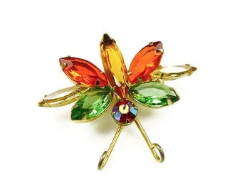 Juliana Brooch, Insect Bug Fly, Rhinestone Navette, Delizza and Elster, Figural Pin, Vintage Jewelry